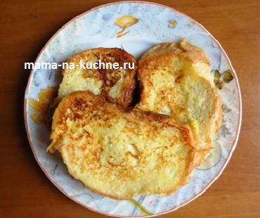 Сладкие гренки с яйцом